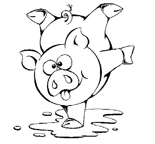 desenho de porco a brincar pintado e colorido por usuário não