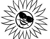 Desenho Sol com óculos de sol pintado por 55