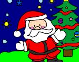 Desenho Papai Noel pintado por michelli e carol