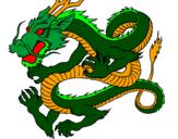 Desenho Dragão japonês pintado por dragão balão