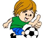 Desenho Rapaz a jogar futebol pintado por eu