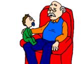 Desenho  Avô e neto pintado por avô