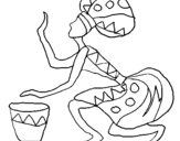 Desenho Mulher com tambor pintado por africana