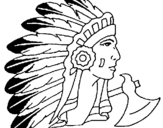 Desenho Índio com grandes plumas pintado por carol