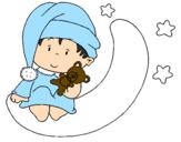 Desenho Bebê pintado por menino de pijama
