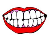 Desenho Boca e dentes pintado por sorriso saldável