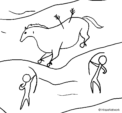 desenho de pintura rupestre pintado e colorido por usuário não