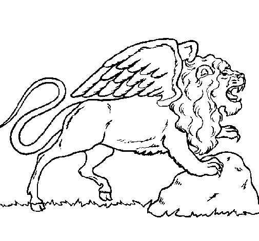 Desenho Leão alado pintado por  leão de asas