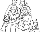 Desenho Família pintado por minha  familia