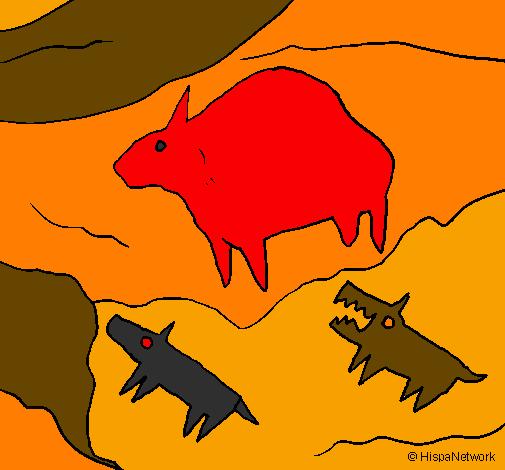 desenho de arte rupestre pintado e colorido por usuário não