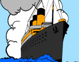 Desenho Barco a vapor pintado por titanic