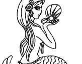 Desenho Sereia e pérola pintado por iara