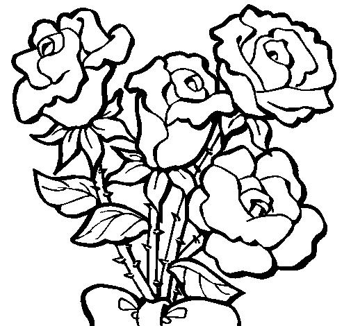 Desenho De Ramo De Rosas Pintado E Colorido Por Usuário Não