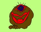 Desenho Monstro de um olho pintado por papai45