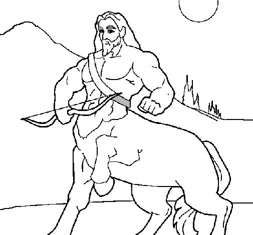 Desenho Centauro com arco pintado por asdfghjk