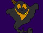 Desenho Fantasma com chapéu de festa pintado por papai45