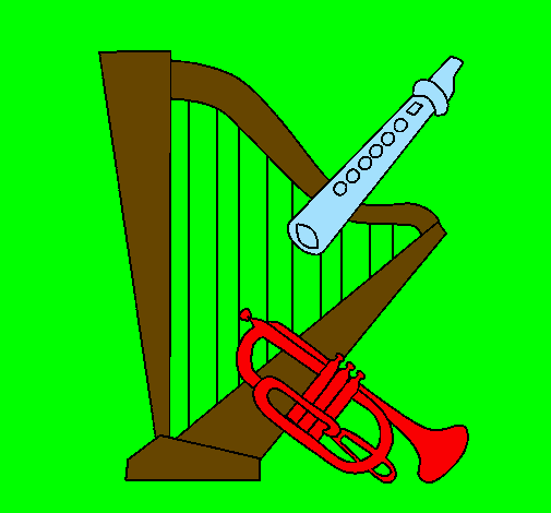 Harpa, flauta e trompeta