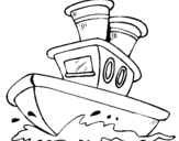 Desenho Barco no mar pintado por barco