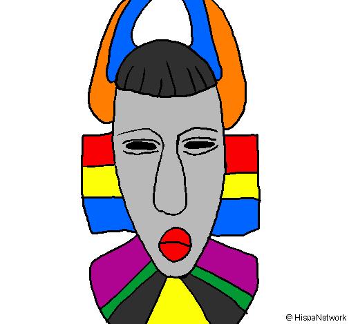 Desenho de Máscara africana pintado e colorido por Usuário não ...