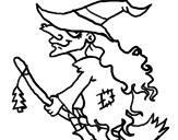 Desenho Bruxa em vassoura voadora pintado por kleiton 9 anos