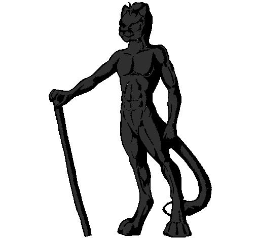 desenho de homem leão pintado e colorido por usuário não registrado