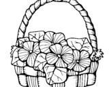 Desenho Cesta de flores 6 pintado por flor-preto e branco