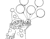 Desenho Palhaço com balões pintado por PIIIIIIU
