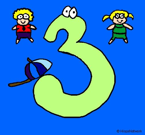 desenho de três pintado e colorido por usuário não registrado o dia