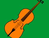 Desenho Violino pintado por Tito Daniel 4 anos