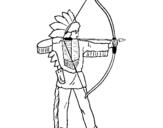 Desenho Índio com arco pintado por ellen