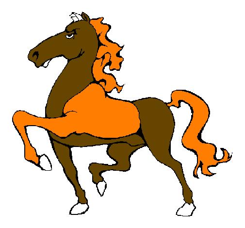 Desenho de cavalo a desfilar pintado e colorido por for Mulas mecanicas baratas