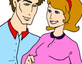 Desenho Pai e mãe pintado por piupiu