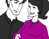 Desenho Pai e mãe pintado por MAMAE E PAPAI