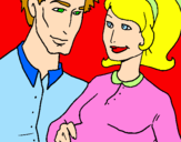 Desenho Pai e mãe pintado por Lorena