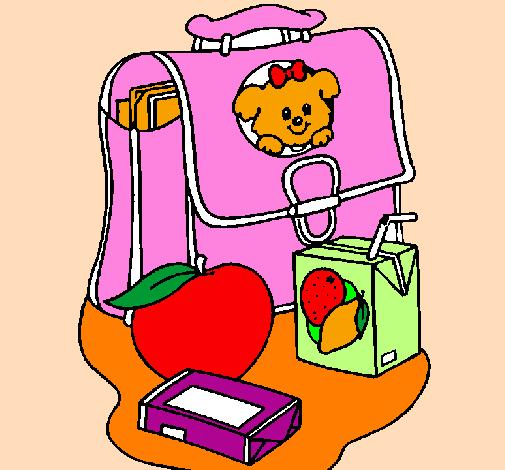 Desenho Mochila e pequeno-almoço  pintado por nana