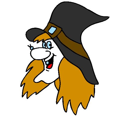 desenho de bruxa pintado e colorido por usuário não registrado o dia