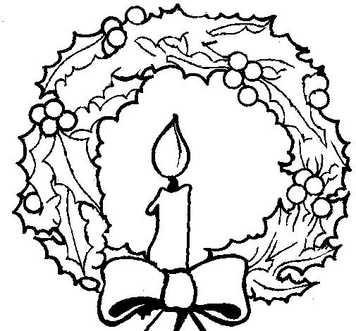 desenho de coroa de natal e uma vela pintado e colorido por usuário