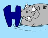 Desenho Hipopótamo pintado por bb