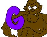 Desenho Gorila pintado por bb