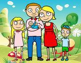 Desenho Família unida pintado por Lorena