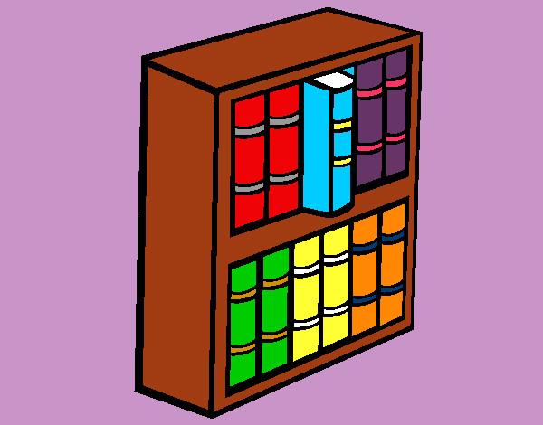 Desenho De Biblioteca Para Colorir: Desenho De Estante Da Biblioteca Pintado E Colorido Por