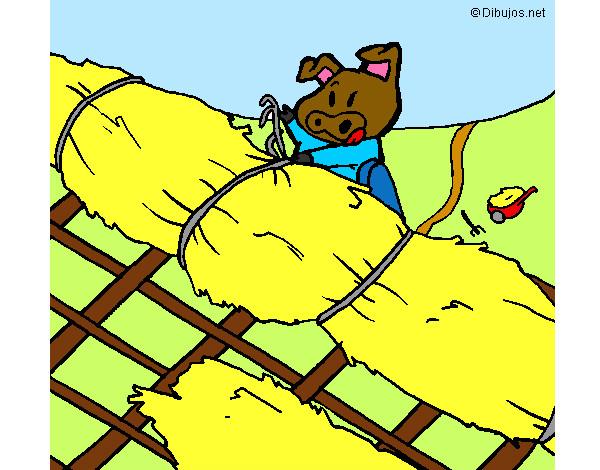 desenho de os três porquinhos casa de palha pintado e colorido por