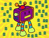 Desenho Robot TV pintado por edney