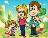 Desenho Família feliz pintado por AnaSilva