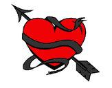 Desenho Coração com seta pintado por jhenifer