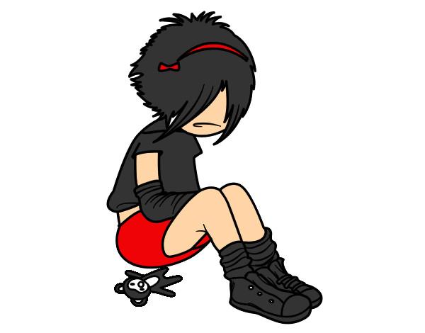 Desenho Rapariga Emo pintado por Gabriely