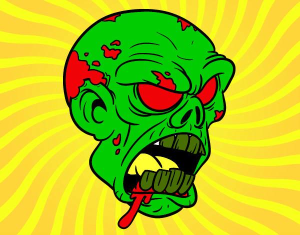 Desenho Cabeça de zombie pintado por nicollas