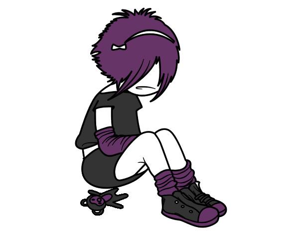 Desenho Rapariga Emo pintado por emily