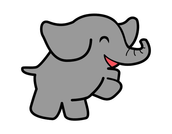 desenho de elefante pintado e colorido por lili 7 o dia 19 de março