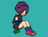 Desenho Rapariga Emo pintado por nashla